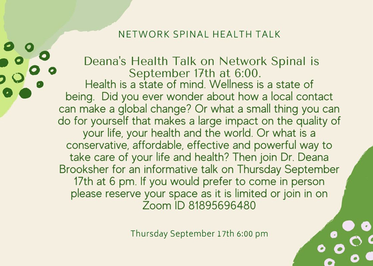 Network Spinal Health Talk at A Garden For Wellness